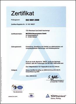 Urkunde Zertifikat DIN EN ISO 9001:2000